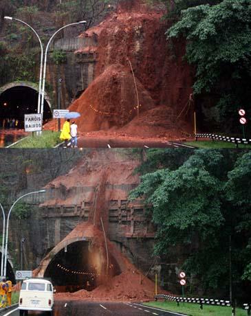 Delizamento no Túnel Rebouças